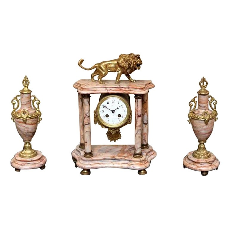French Marble Clock Garniture For Sale