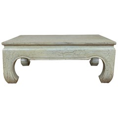 Vintage Mint Green Coffee Table from Thailand with Crackled Finish and Chow Legs