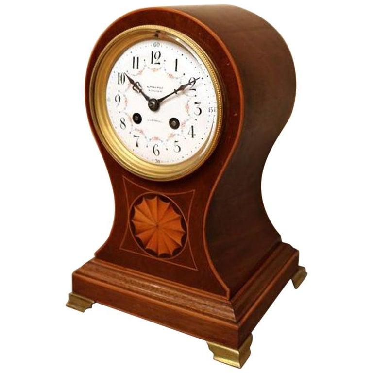 Edwardian Mahogany Balloon Clock For Sale