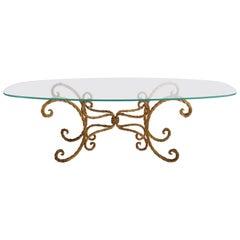 Hollywood Regency Italian Gilt Braided Rope Coffee Table