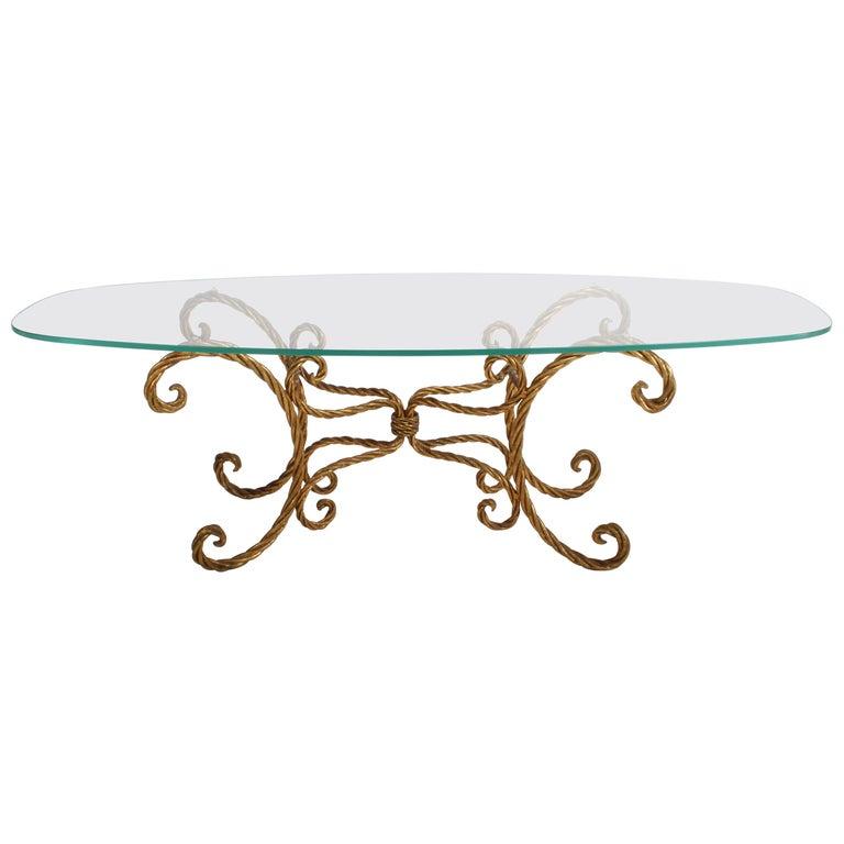 Hollywood Regency Italian Gilt Braided Rope Coffee Table For Sale