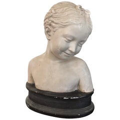 Vintage Clay Bust of Young Girl