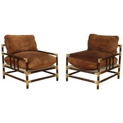 Pair of Faux Bamboo and Brass Armchairs Attr. to Billy Haines