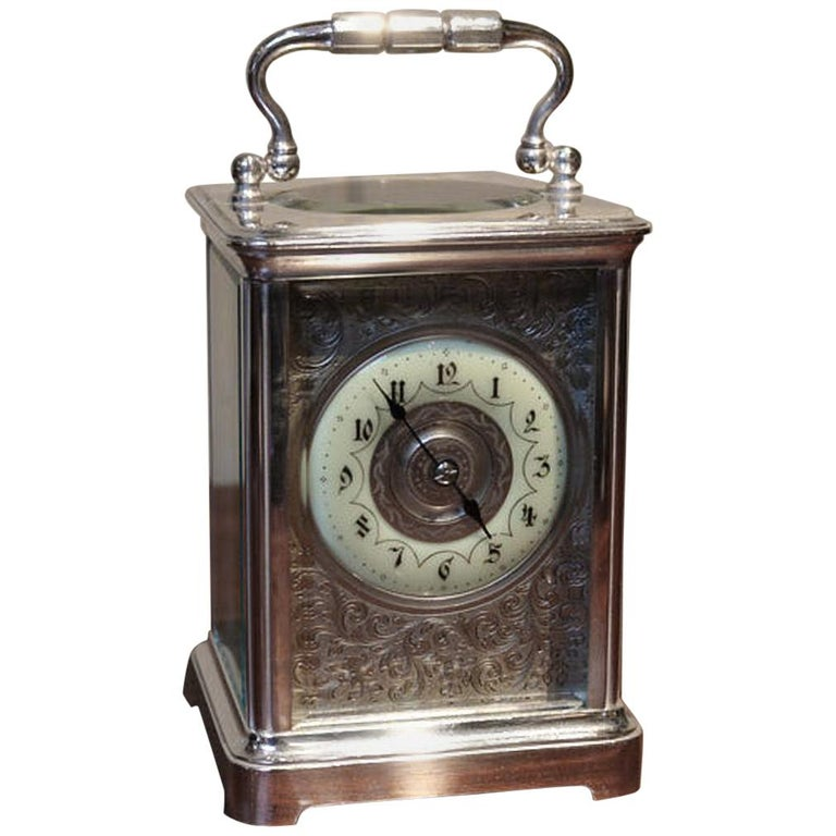 Large Silver Plated Striking Carriage Clock For Sale