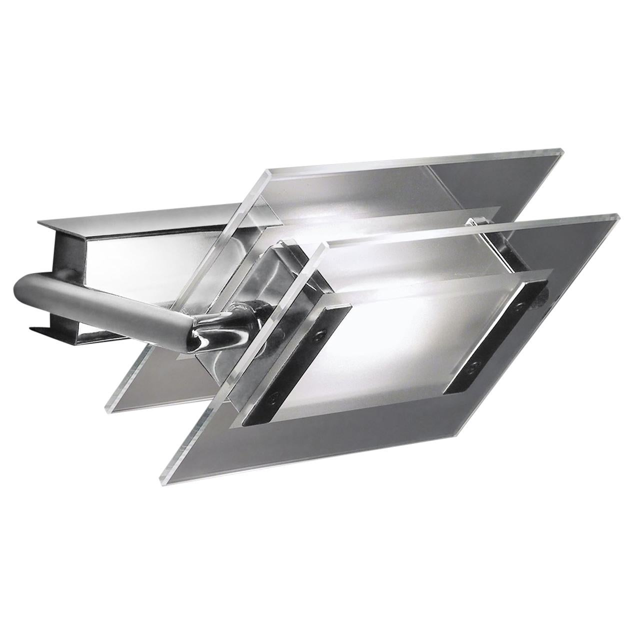 Leucos 360° P-PL 120 Wall Light in Satin, Transparent and Chrome by Design Lab