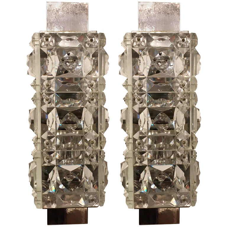 Pair of 1960s Austrian Crystal Kinkeldey Wall Lights For Sale