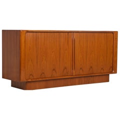 Vintage Danish Teak Tambour Credenza by Bernhard Pedersen & Son w/ Finished Back