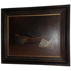 Oil on Canvas Painting of Books by McDonald Hazlewood
