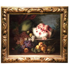 19th Century a Painting with Still Live C. Gustin