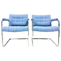 1960'S Pair of Milo Baughman Style Upholstered Chrome Armchairs By Patrician
