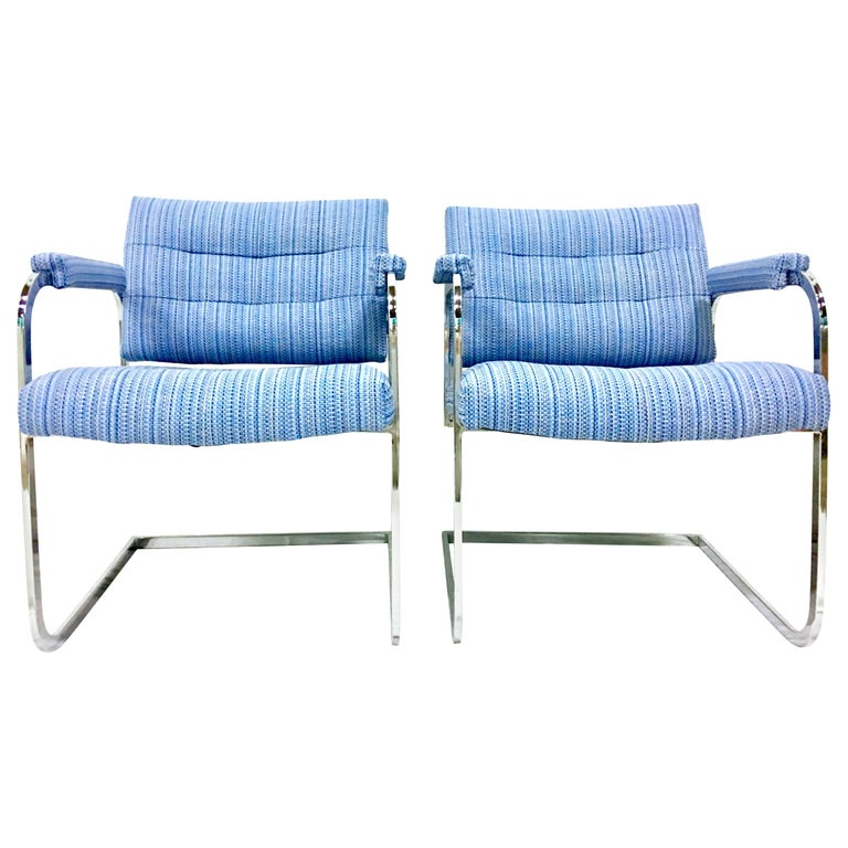 1960'S Pair of Milo Baughman Style Upholstered Chrome Armchairs By Patrician For Sale