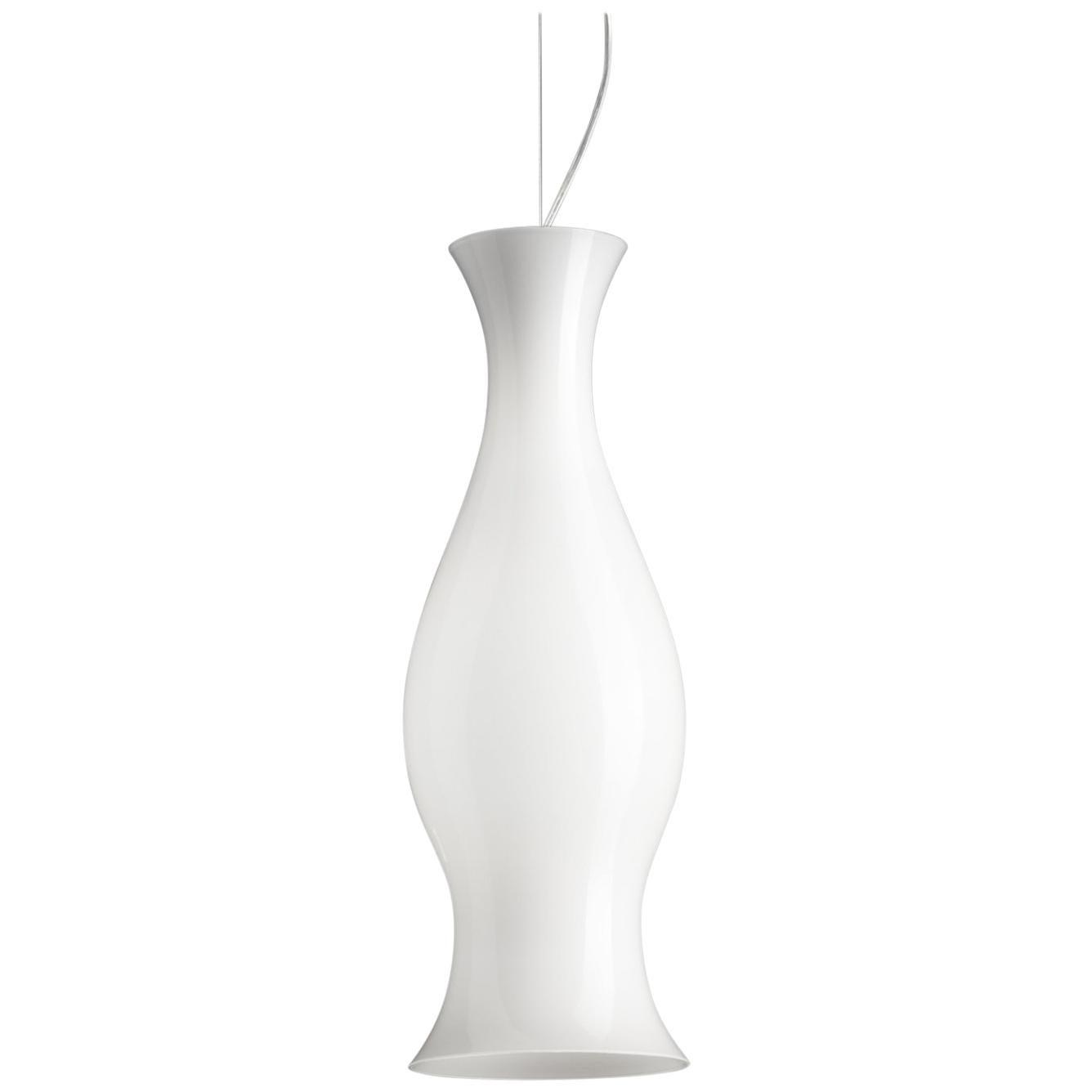 Leucos Spring S Pendant Light in Glossy White and Chrome by Eva Zeisel