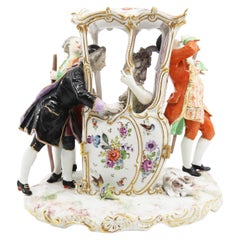 Hand Painted Porcelain, 2 Valets and a Couple, 19 Century, Vienna Austria