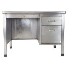 Vintage Industrial Stripped and Polished Steel Desk Made by Art Metal