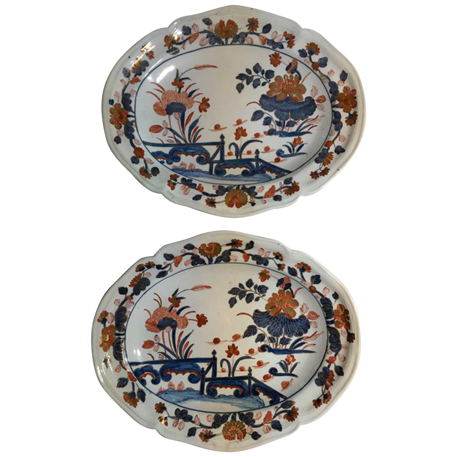 Italy Richard Ginori Mid-18th Century Pair of Porcelain Trays or Serving Dishes