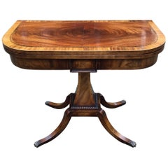 19th Century Regency Mahogany Inlaid Crossbanded Card Table with Splayed Legs