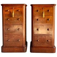 Antique Mahogany Bedside Cabinets Nightstands 19th Century Victorian, circa 1870