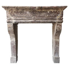 Antique Mantelpiece of French Limestone, Louis XIII Style, 19th Century