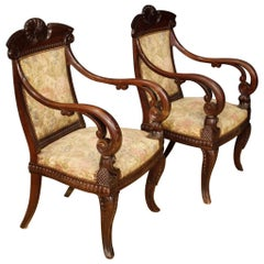 19th Century Mahogany Wood Pair of Italian Armchairs, 1880