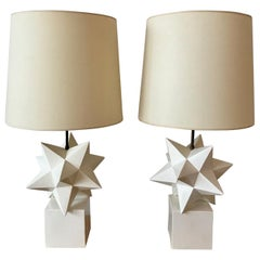 Pair of White Stars Lacquered Wood Lamps