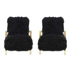 Pair of L.a. Studio Contemporary Modern Black Mongolian Goat Italian Armchairs