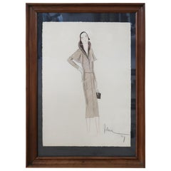 Italian Art Deco Stylist John Guida Watercolor and Pastel Pencil Fashion Design