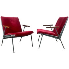 Matched Pair of French Modernist Lounge Chairs in Red Mohair after Jean Prouve