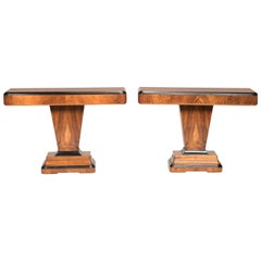 Art Deco Walnut Wood and Black Ebonized Lacquered Details Table Consoles
