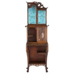 Japonisme Mother of Pearl Inlaid Hardwood Display Cabinet after Viardot