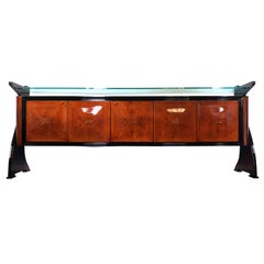 Midcentury Wooden Amboyna Rosewood Sideboard Guglielmo Ulrich's Style, 1950s