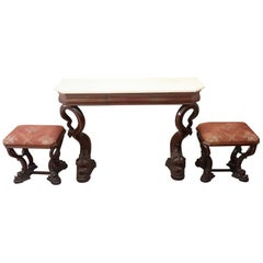 19th Century Italian Mahogany Carved Marble Top Console Table with Two Stools