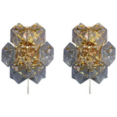 Pair of Gilt Brass Metal Faceted Crystal Glass Sconces Wall Lights Kinkeldey