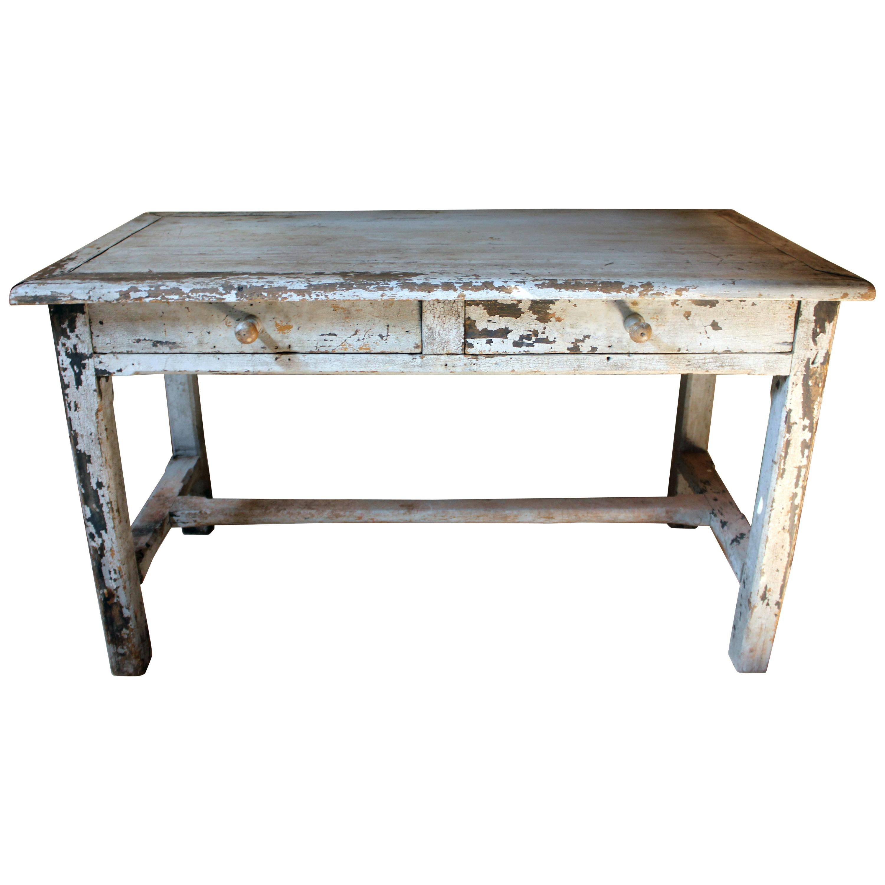 French Provincial Painted Pine Side Table From A Potters Studio, Circa 1900