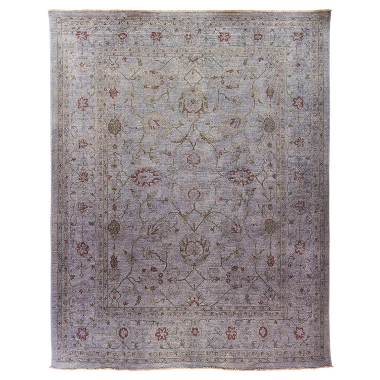 Ziegler Pakistan Large Rug Stone Washed, Wool Hand Knotted Grey Red, circa 2000 For Sale
