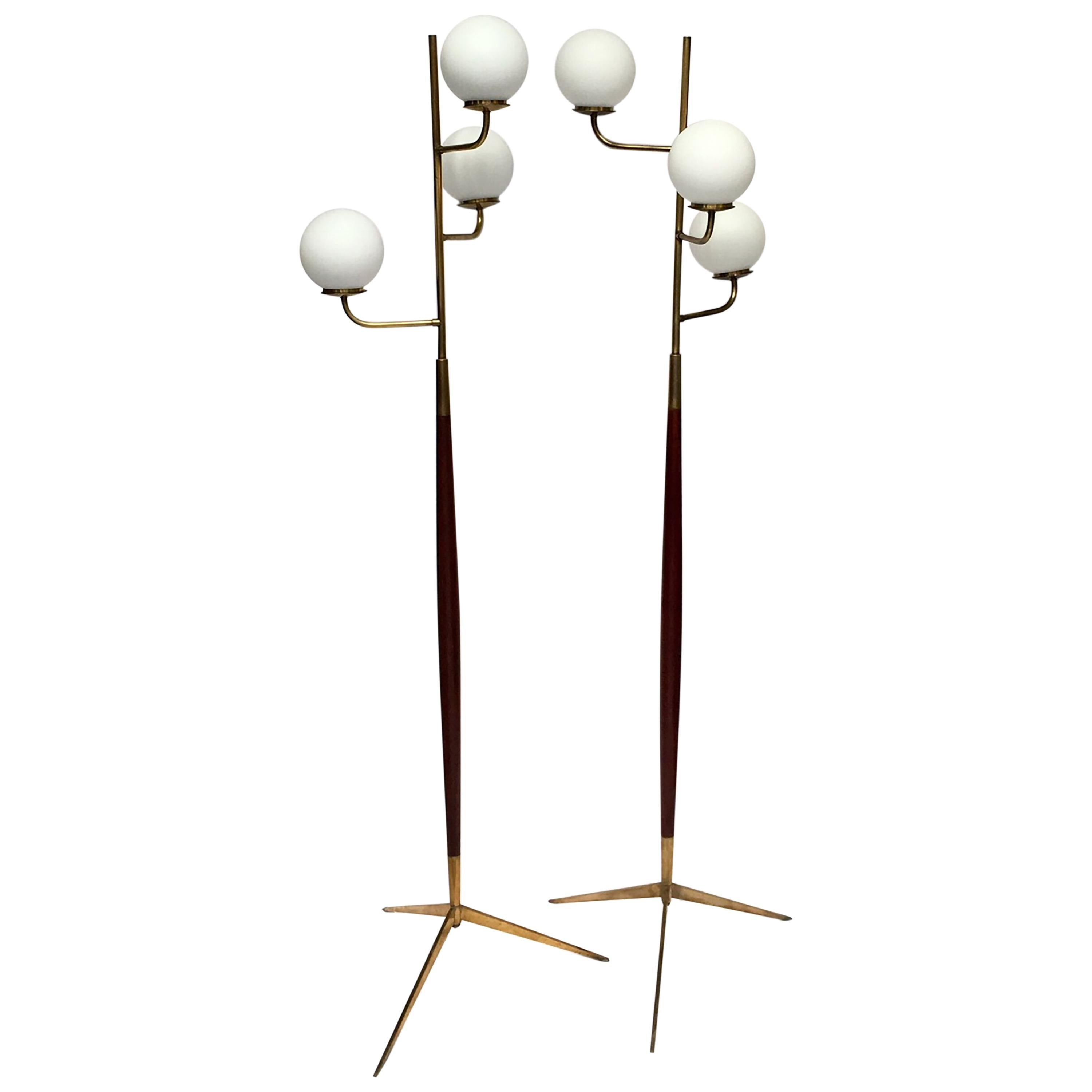 Pair of Mid-Centyry Triple Lighting Floor Lamps by Maison Lunel