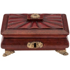 Regency Antique Red Leather Brass Bone Sewing Needlework Box