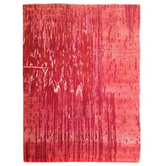 Tibet Hand Knotted Wool Silk Red Large Rug, circa 2007