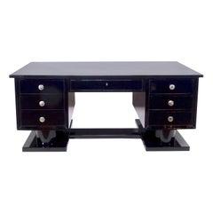 Desks & Secretaries Furniture Green Art Deco Desk With Leather Top The Latest Fashion