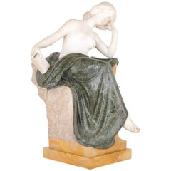 Multi-Color Marble Sculpture of a Woman by Pittaluga