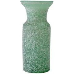 Vintage Italian Seguso Vetri d'Arte Green 'a Scavo' Murano Glass Vase or Vessel