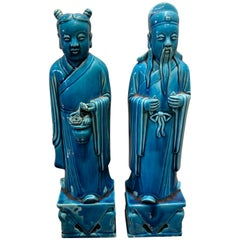 Pair of Chinese Turquoise Female and Male Statues