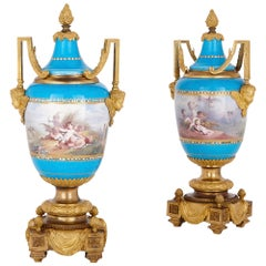 Pair of Sèvres Style Porcelain Urns with Gilt Bronze Mounts by Picard