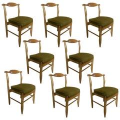Guillerme et Chambron, Set of Eight Oak Chairs, 1960 Votre Maison Edition