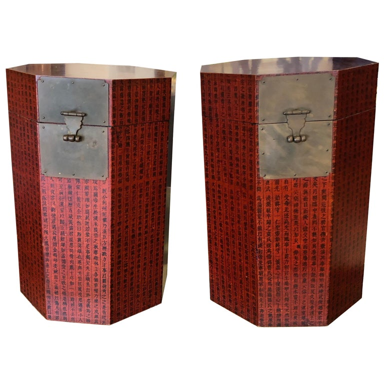 Pair Of Chinese Octagon Red Calligraphy Trunks Or Side