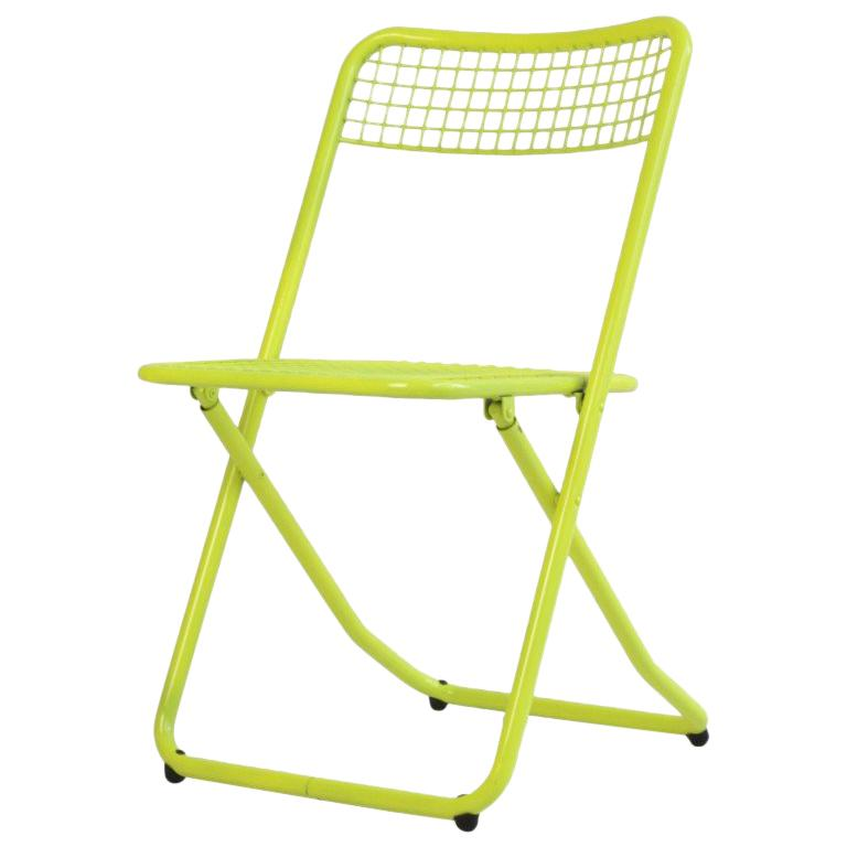 New Folding Iron Chair Yellow 1026 by Houtique & Masquespacio Signed