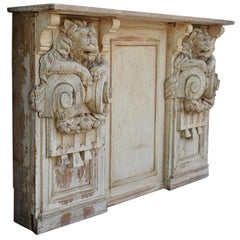 19th Century Hand Carved Lion Console Decorative Unique Furniture