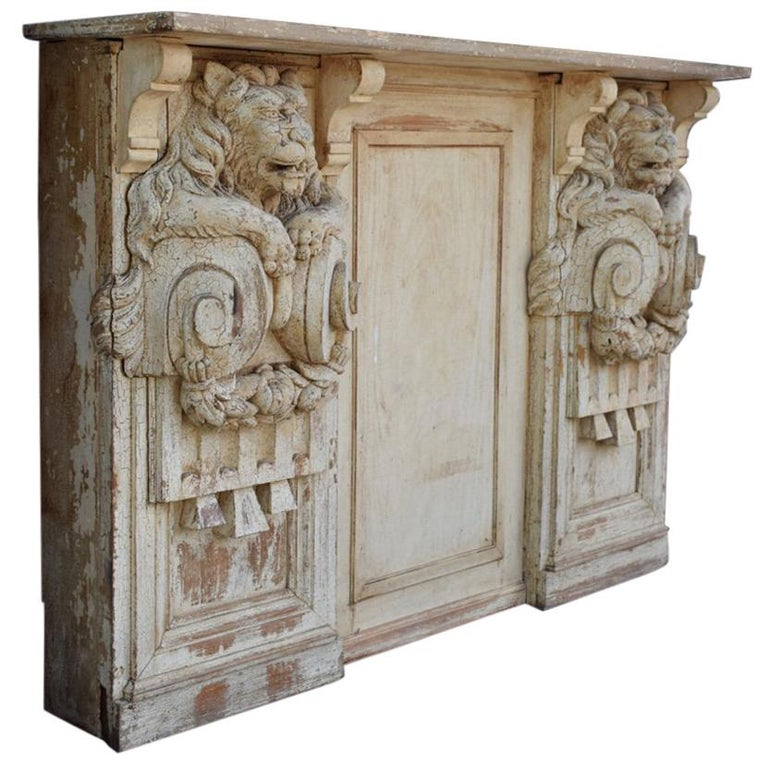 19th Century Hand Carved Lion Console Decorative Unique Furniture For Sale