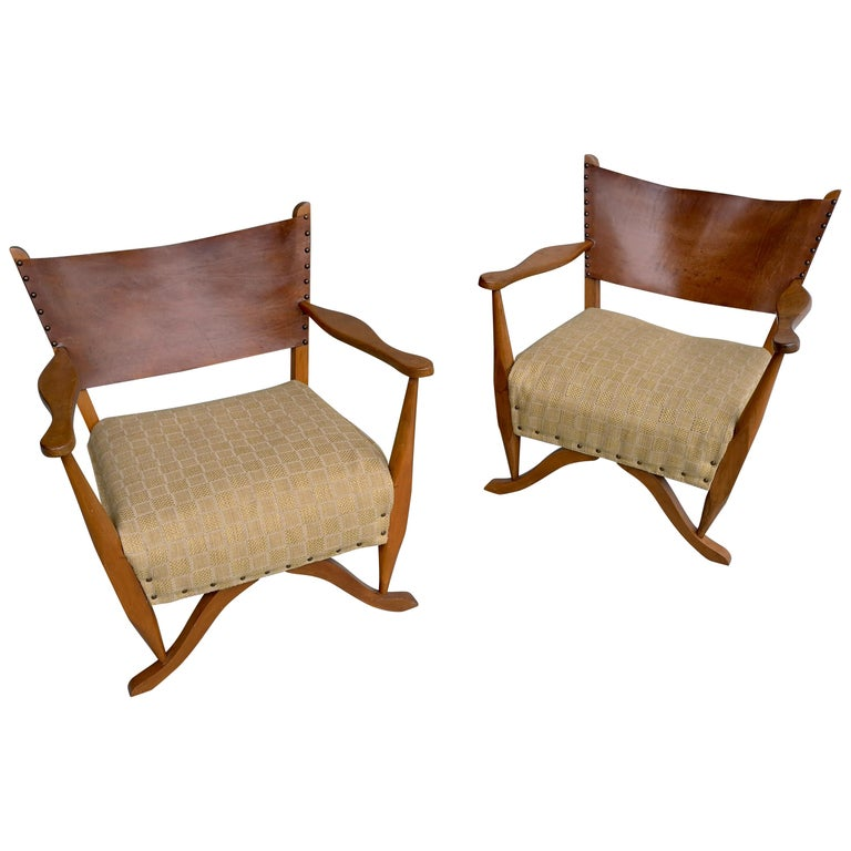 Pair of Mahogany Armchairs with Natural Sling Leather Back, Denmark, 1960s For Sale
