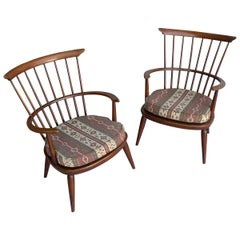 Pair of Wooden Windsor Armchairs by Luigi Ercolani