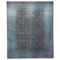 Ziegler Pakistan Large Rug Stone Washed, Wool Hand Knotted Blue, circa 2000